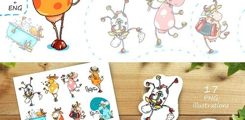 Dancing Cow sticker pack 17 images - 4664237