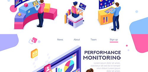 Internet products and isometric desktop concept