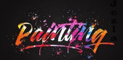 Painting Colorful 3d Text Effect Mockup