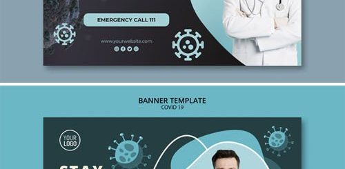 8 Covid-19 Banners PSD Templates