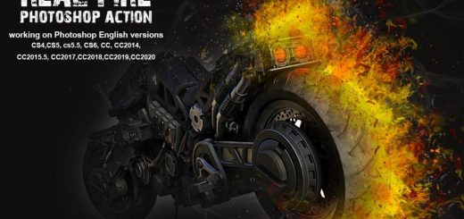 CreativeMarket Real Fire Photoshop Action 5265414
